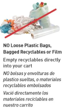 Do not recycle loose plastic bags, bagged recyclables or film