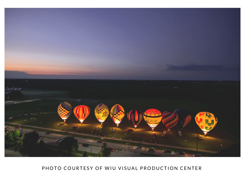 Aerial view hot air balloons