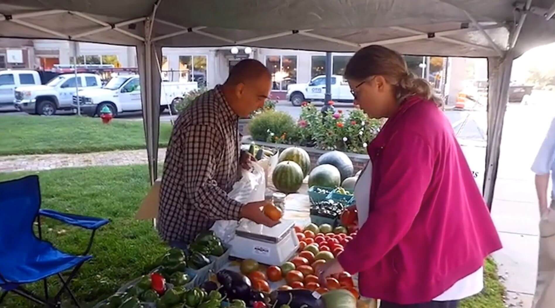 Man and woman at farmer's market