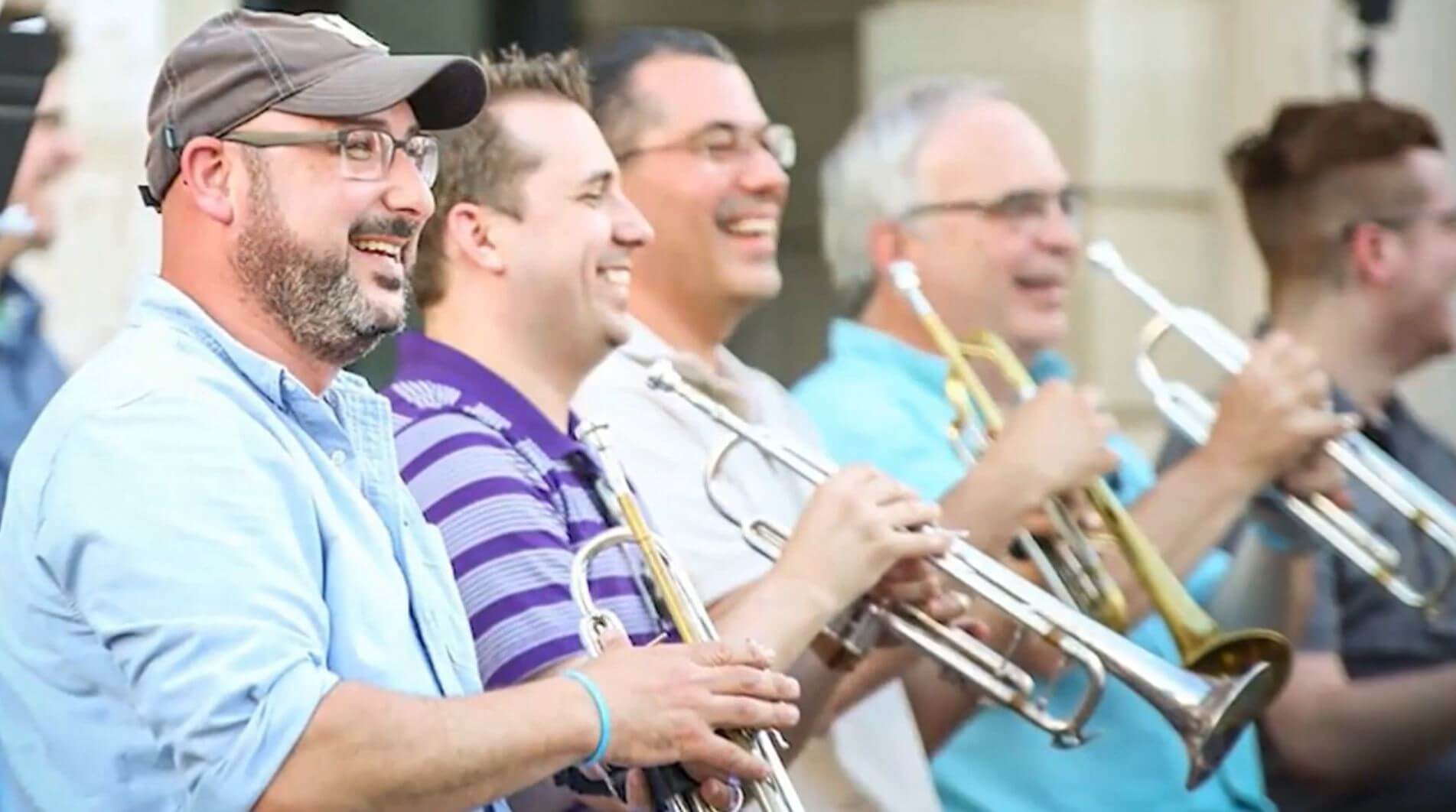Macomb Illinois men playing trumpets